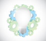 Gears and light bulb illustration design Stock Image
