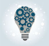 Gears in light bulb shape , abstract gears concept of thinking Stock Photography