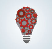 Gears in light bulb shape , abstract gears concept of thinking stock illustration