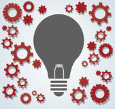 Gears in light bulb shape , abstract gears concept of thinking vector illustration