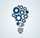 Gears in light bulb shape , abstract gears concept of thinking Stock Photo
