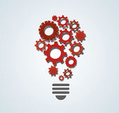 Gears in light bulb shape , abstract gears concept of thinking royalty free illustration