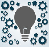 Gears in light bulb shape , abstract gears concept of thinking Stock Image