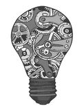 Gears lightbulb sketch Royalty Free Stock Photo