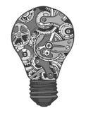 Gears lightbulb sketch stock illustration