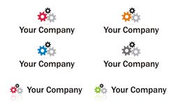 Gears logo element. In multiple colors Stock Images