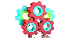 Gears Loop 3d Animation. Color Gears Loop 3d Animation. 4K resolution stock video