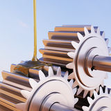 Gears Lubrication Concept 3d Illustration. Gears Lubrication Closeup 3d Illustration Royalty Free Stock Image