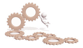 Gears machine with 3D man Stock Photos