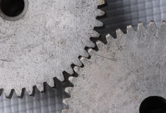 Gears macro. Macro detail of old gears. With extra highlight to show the great old surface structure Royalty Free Stock Photos