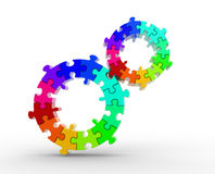 Gears made of puzzle. Royalty Free Stock Image