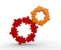 Gears made of puzzle. Stock Photo