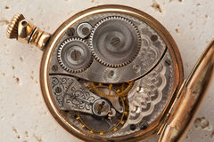 Gears and mainspring of a watch. Gears and mainspring in the mechanism of a pocket watch Stock Images