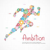 Gears man running with ambition for success Royalty Free Stock Images