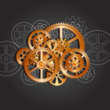 Gears mechanical black. Bronze gears on a black background, vector illustration clip-art stock illustration