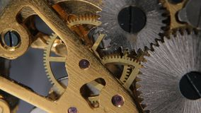 Gears mechanical clock. Close up stock video