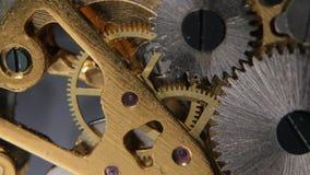 Gears mechanical clock. Close up stock video