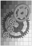 Gears of the mechanism_3D Royalty Free Stock Photo