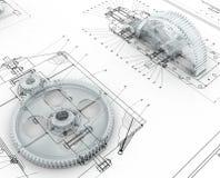 gears mekaniskt skissar royaltyfri illustrationer