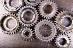 Gears on metal background Royalty Free Stock Photos