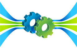 Gears in motion and lines, business process vector illustration