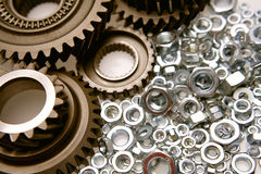 Gears and nuts Royalty Free Stock Image