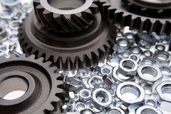 Gears & nuts Royalty Free Stock Images