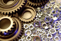 Gears & nuts Royalty Free Stock Image