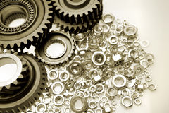 Gears and nuts Royalty Free Stock Photo
