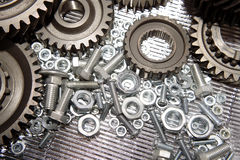 Gears, nuts and bolts Royalty Free Stock Photo