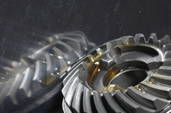 Gears with oil reflection Royalty Free Stock Photography