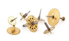 Gears from old clock. On white background Royalty Free Stock Image