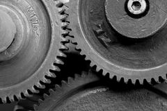 Gears of an old machine Stock Images