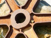 Gears from old mining equipment royalty free stock image