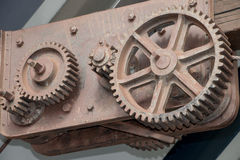 Gears 2. The old in the new. The original gears of a working wharf still in place royalty free stock image