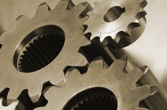 Gears in old sepia toning Stock Photos