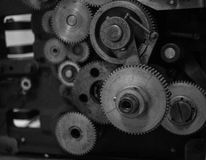 The gears of a old and vintage machine Stock Images