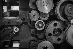 The gears of a old and vintage machine Royalty Free Stock Photo