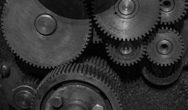 The gears of a old and vintage machine Royalty Free Stock Photos