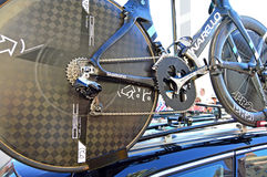 Gears And Osymetric Chainring On Chris Froome's Bike. The famous oval shaped chainring and gears seen on the time trial bike of Chris Froome. Taken at the Time Stock Images