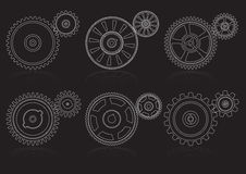 Gears outline set A Royalty Free Stock Photography