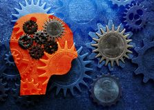 Gear head money. Gears and paper head cutout with money collage Royalty Free Stock Images