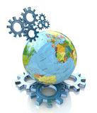 Gears and planet earth Stock Images