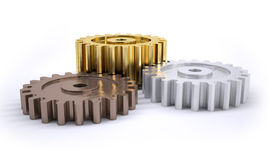 Gears poduim. Three gears bronze silver and gold as a poduim concept of winning Stock Photography