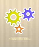 Gears postcard illustration Royalty Free Stock Photography