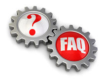 Gears with Quest and FAQ (clipping path included) Stock Photo