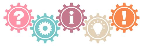 Gears Question Work Information Idea And Answer Retro Colors stock illustration
