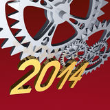 Gears 2014 on red. Rendered 3d scene - Year 2014 and silver gears on red background Stock Photos