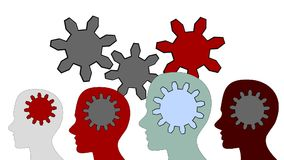 Gears rotate inside the brain power of teamwork on white background stock footage