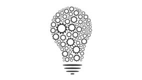 Gears rotate inside Bulb idea Mechanism seamless loopable FullHD 1080p 2D creativity animation stock video footage